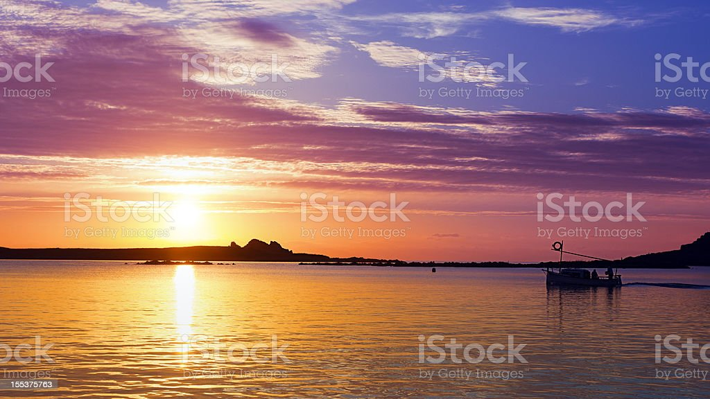 Fisher boats floating in a bay stock photo