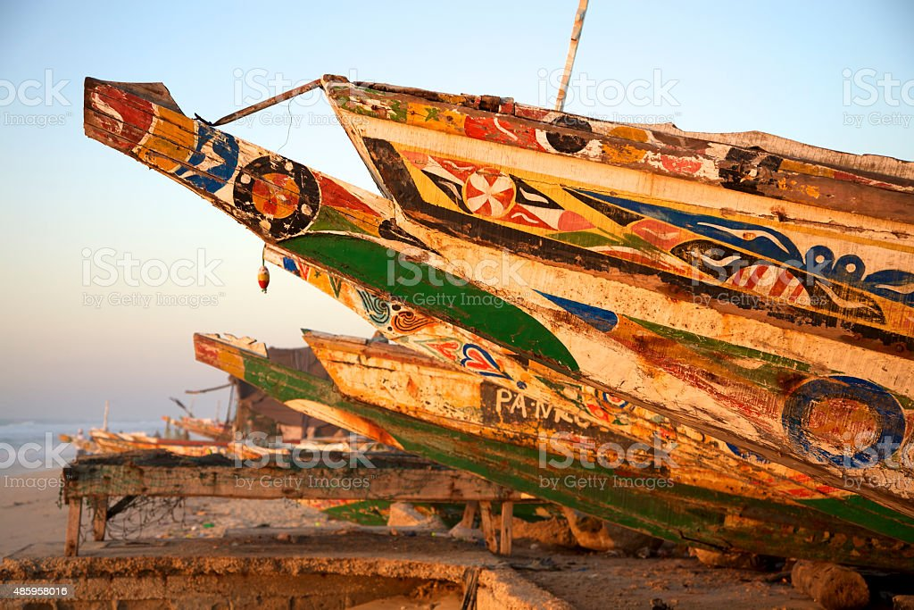 Fisher boats in Saint Louis, Senegal stock photo
