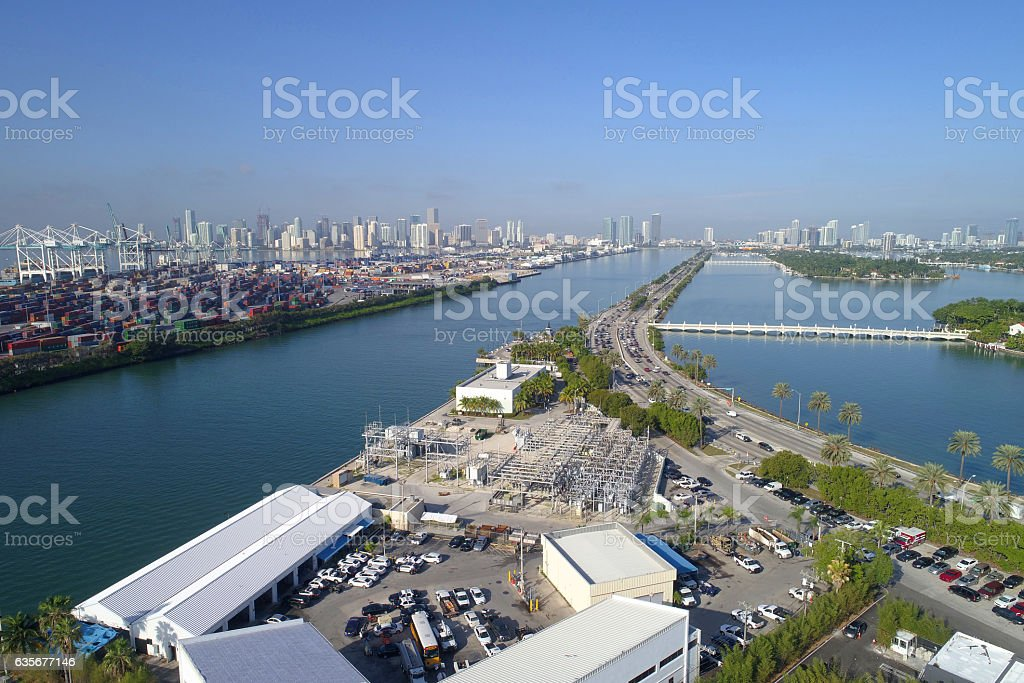 Fisher Island ferry terminal aerial image stock photo