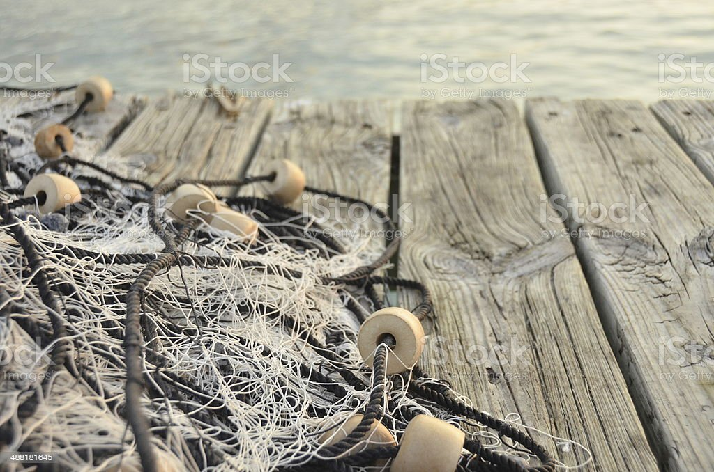 Fisher net on Jetty stock photo