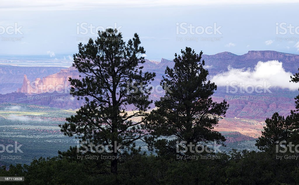Fisher Towers View from Above with Dramatic Storm Clouds royalty-free stock photo