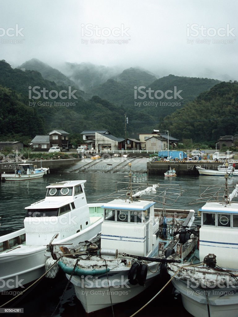 Fisherboats in Japan at habour. royalty-free stock photo