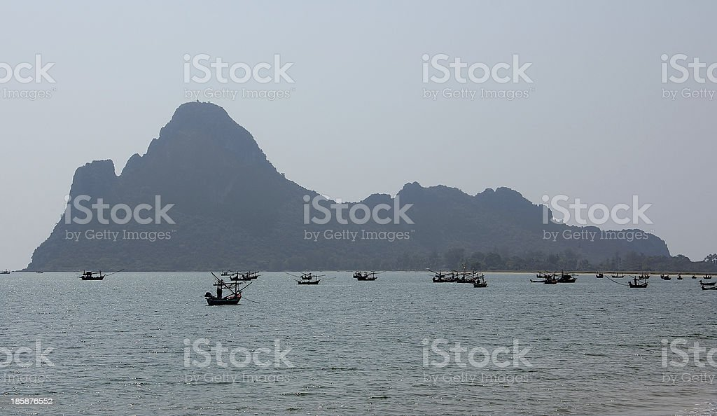 fisherboats in the evening royalty-free stock photo