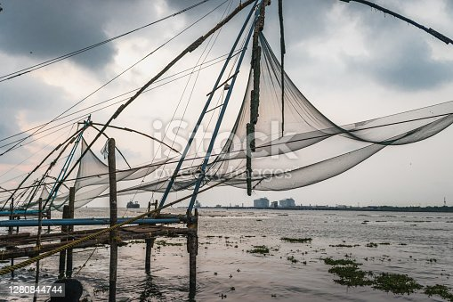 this is a kind of fishing net which is called Chinese fishing net. This image is taken at Kochi kearla india.