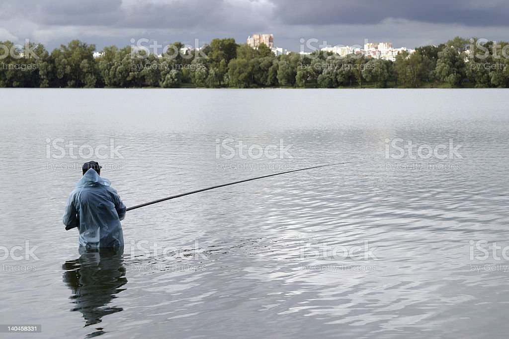 fisherman and meditate royalty-free stock photo