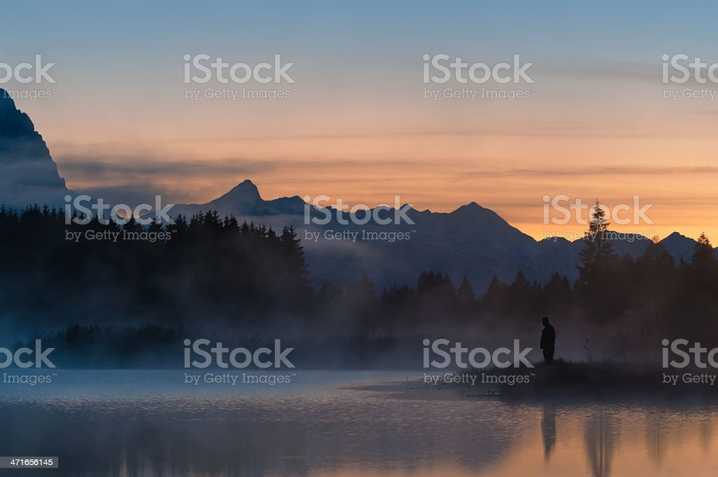 Fisherman at Lake Geroldsee royalty-free stock photo