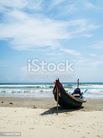 fisherman boat and  on the beach at Hue province, Vietnam