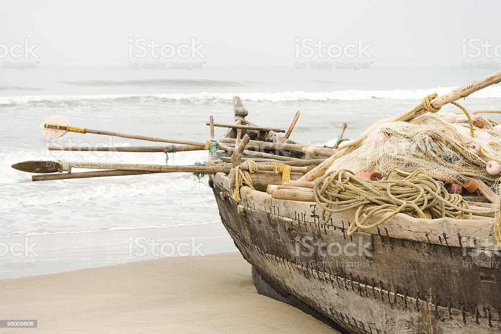 Fisherman boat full with fishing gear royalty-free stock photo