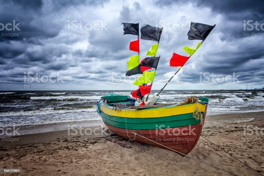 Fisherman boat on the beach in Sopot, Poland stock photo