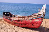 A fisherman boat in Kollam beach at early morning time