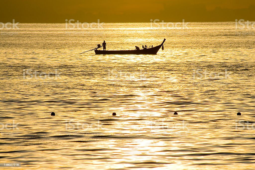 fisherman boat royalty-free stock photo