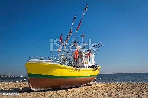 Fisherman boat on the beach, Sopot, Poland