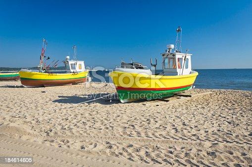 Fisherman boats on the beach, Sopot, Poland