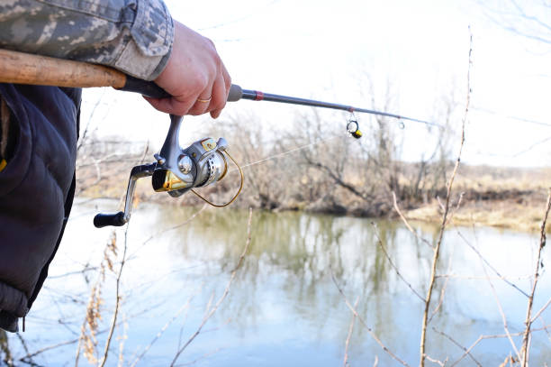 A fisherman catches a fish. Spinning reel closeup. Shallow depth of field on the spinning reel A fisherman catches a fish. Spinning reel closeup. Shallow depth of field on the spinning reel. fishing line stock pictures, royalty-free photos & images