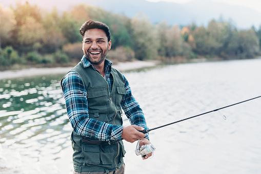 Fisherman enjoying his hobby