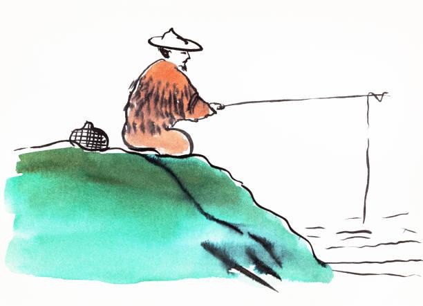 fischer angeln hand gezeichnet in sumi-e stil - senior bilder wasser stock-fotos und bilder