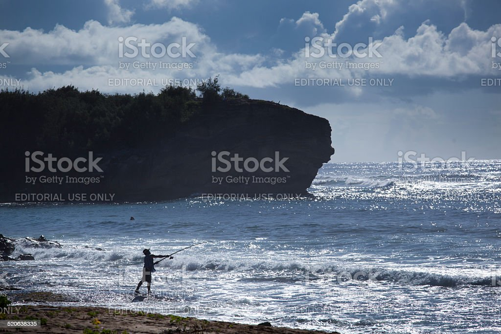 Fisherman Fishing on the Tropical Island of Kauai stock photo