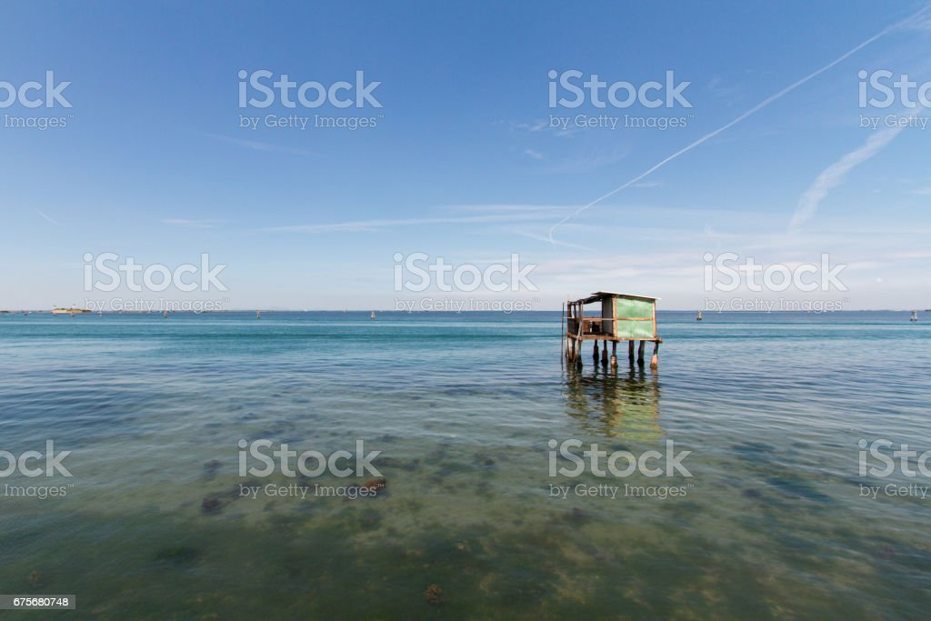 Fisherman house in Pellestrina, an island of the venetian lagoon royalty-free stock photo