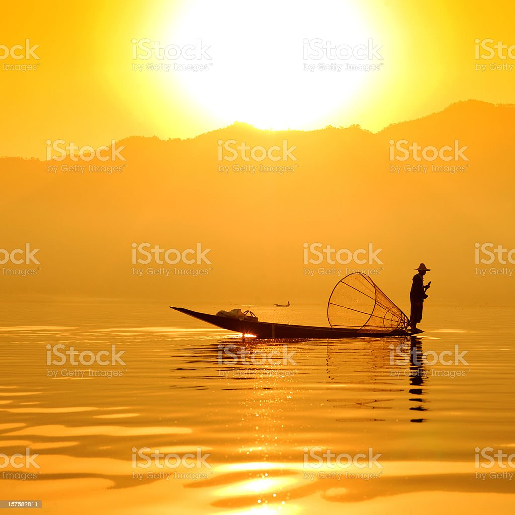 Fisherman in Asia royalty-free stock photo