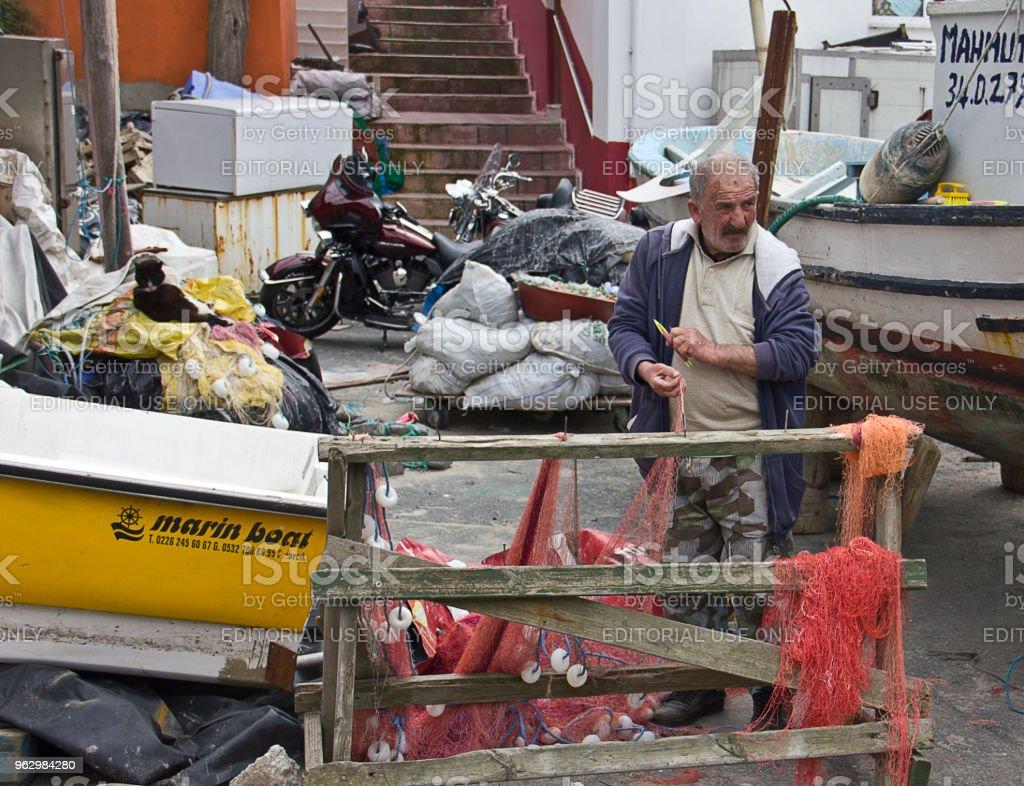 Fisherman in Bosphorus The Rumeli stock photo