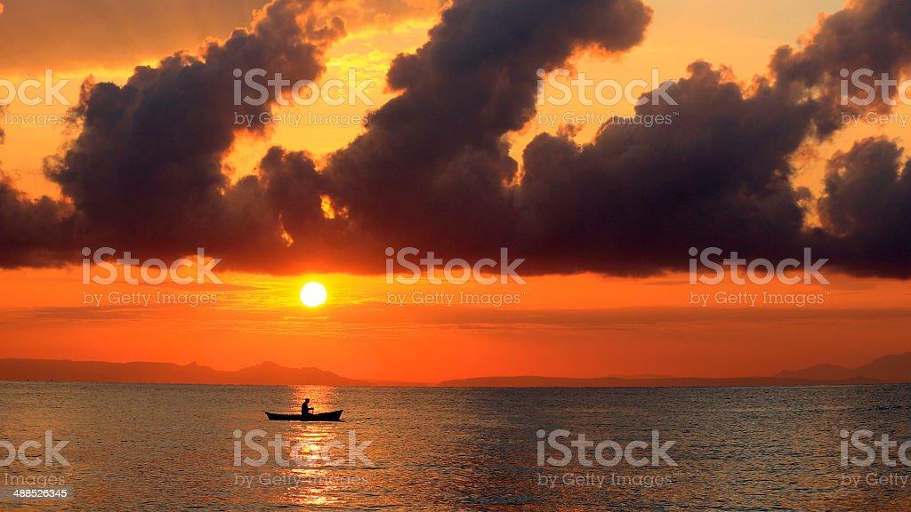 Fisherman in Lake Malawi stock photo