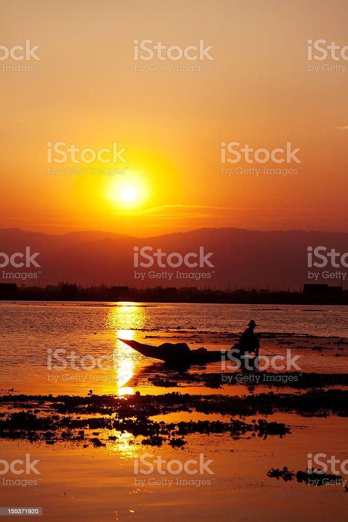Fisherman, Inle Lake, Myanmar royalty-free stock photo