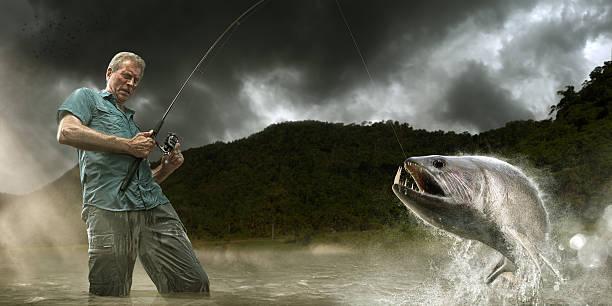 Fisherman Lands Dangerous Payara Fish in Amazon Senior fisherman landing a payara fish in the Amazon river fishing reel stock pictures, royalty-free photos & images