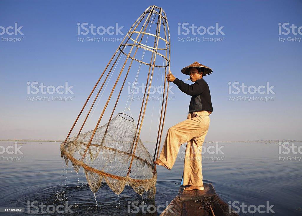 Fisherman, Myanmar royalty-free stock photo