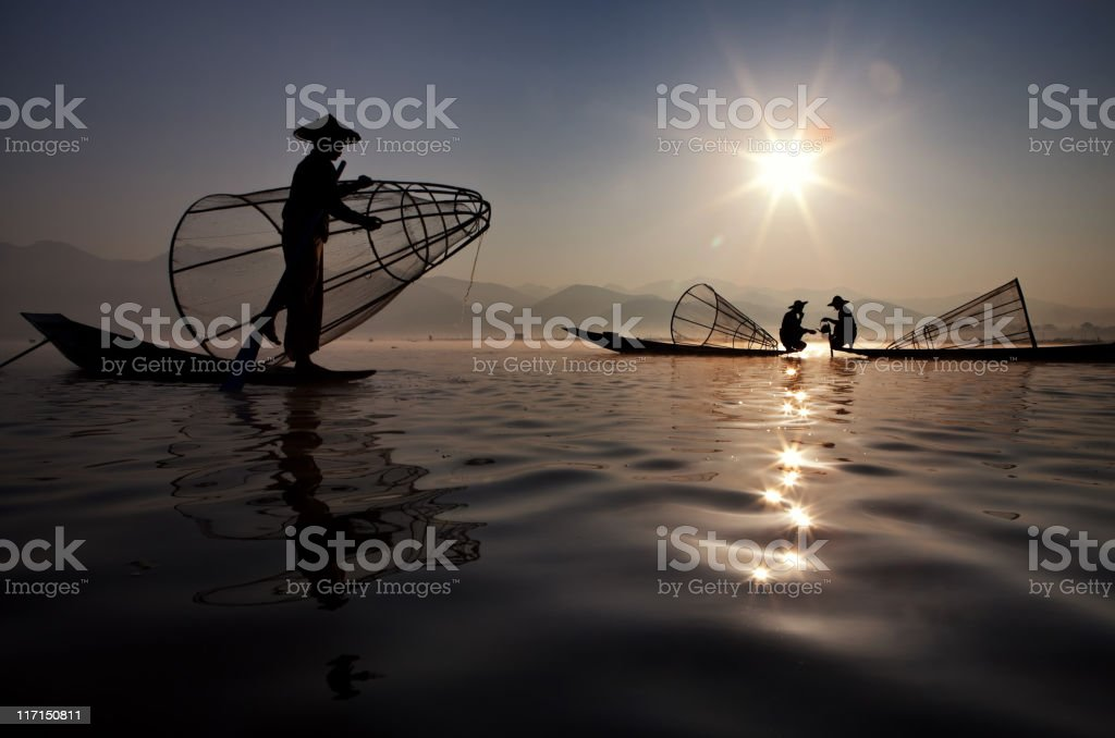 Fisherman, Myanmar stock photo