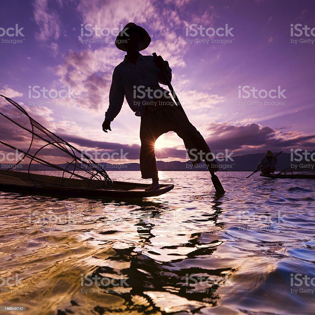 Fisherman on Inle Lake, Myanmar royalty-free stock photo