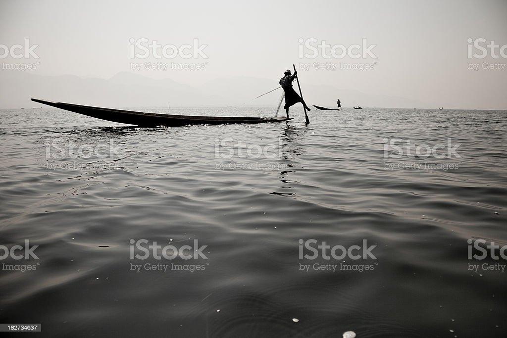 Fisherman on Inle Lake royalty-free stock photo