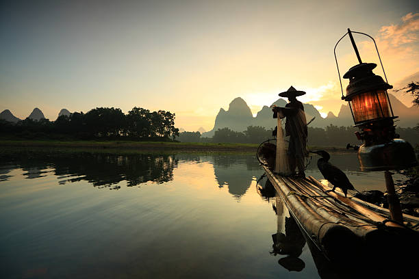 A fisherman on the li river at sunset