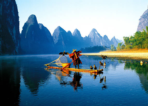 Fisherman on the Li River in Guilin stock photo