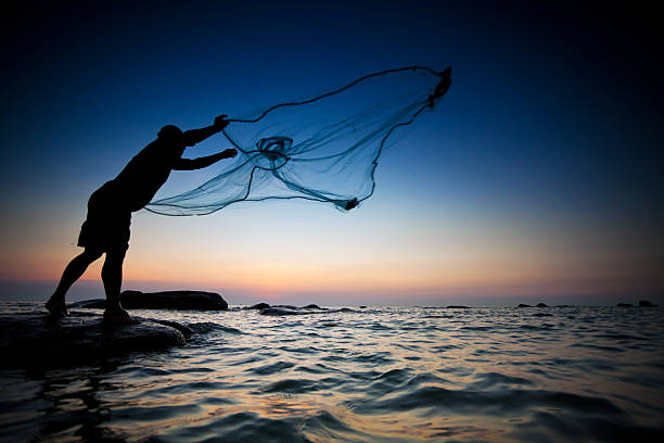 Fisherman throwing fishing net during sunset , thai fisherman stock pictures, royalty-free photos & images