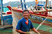 Nghean, Vietnam - July 18, 2015: Portrait Vietnamese fishermen on the beach in Vietnam