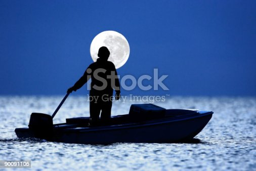 Fisherman in his Boat with Moon