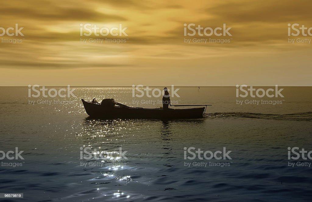 fisherman - Royalty-free Avondschemering Stockfoto