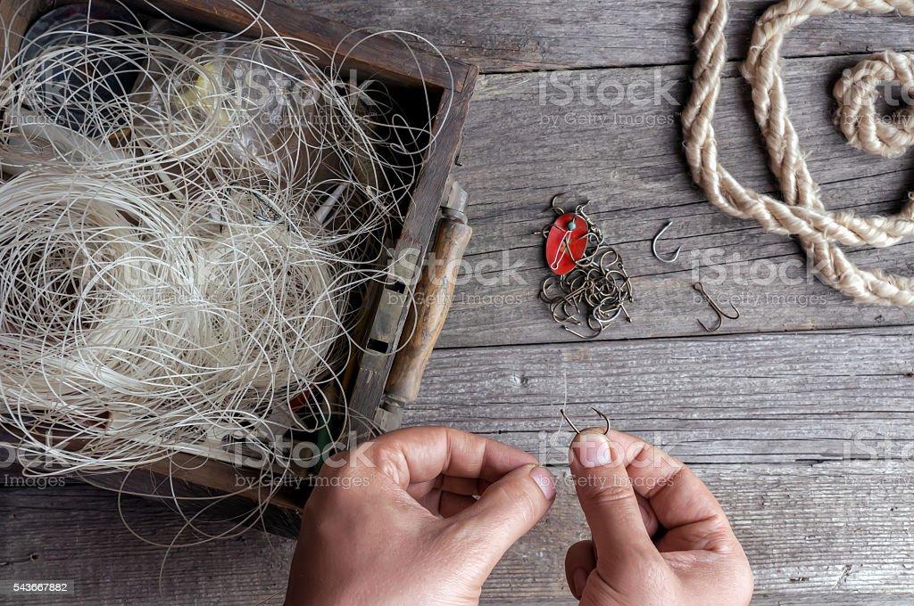 Fisherman prepare to fishing. - foto stock