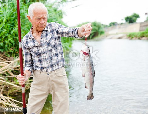 istock Fisherman pulling fish from river 1084165802