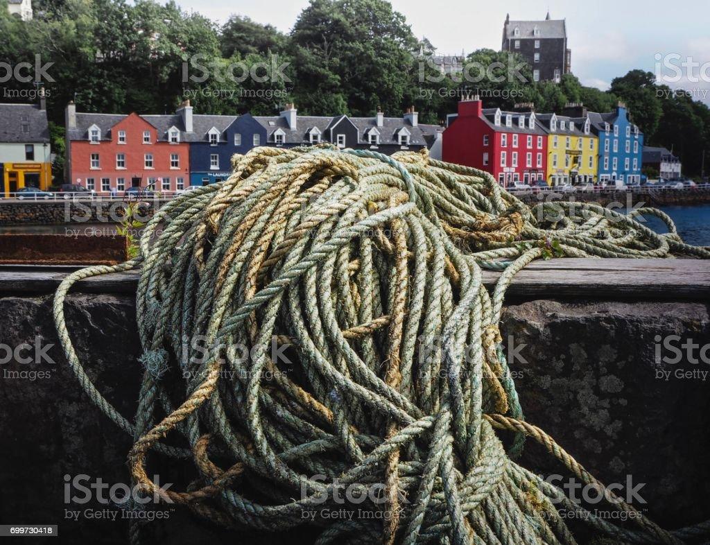 Fisherman 's Ropes  On Tobermory Harbor Background stock photo