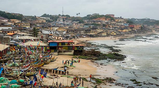 Fisherman village in Ghana stock photo