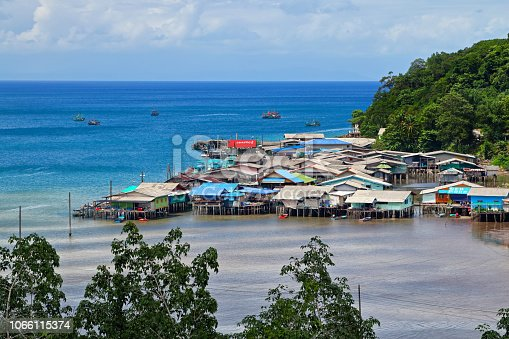 Aerial view of Ao Yai Fisherman Village in Koh Kood, Thailand
