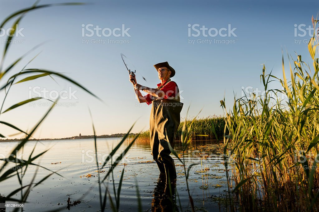 Fisherman Wearing Waders Casting His Line Out stock photo