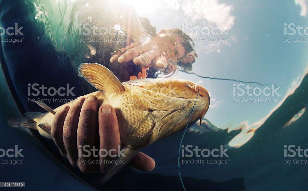 Fisherman with fish stock photo