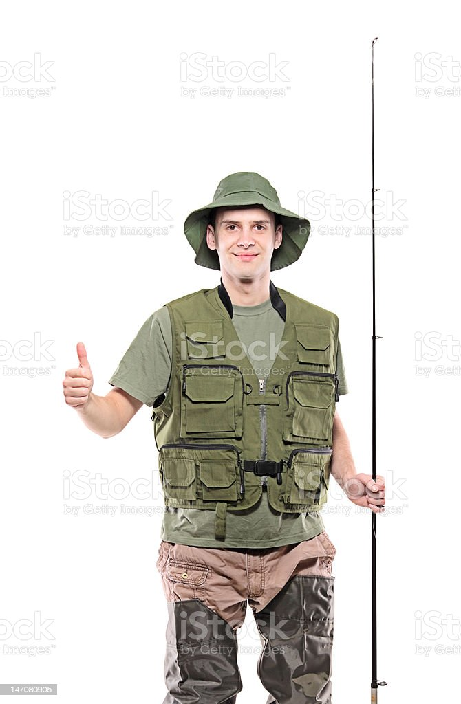 Fisherman with thumbs up royalty-free stock photo