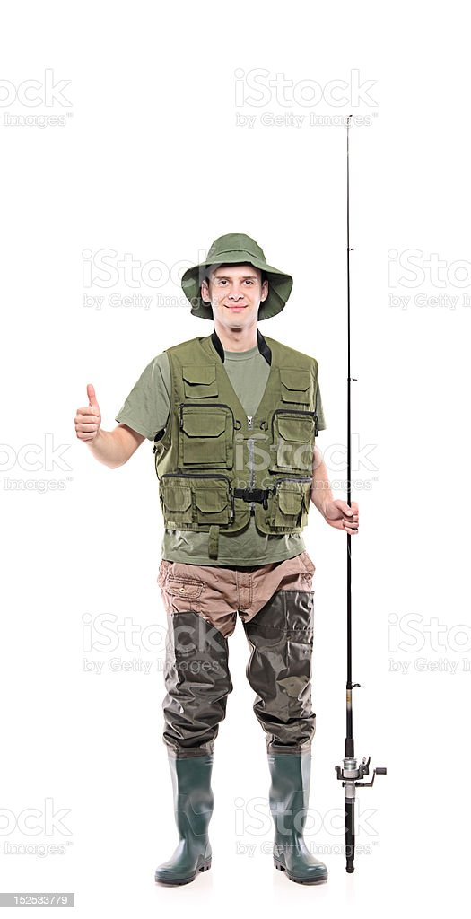 Fisherman with thumbs up stock photo