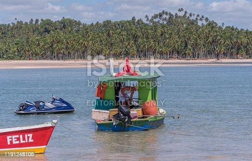 Tamandaré municipality, Pernambuco state, Brazil - November 23, 2019:Young fisherman breaking ice to conserve freshly caught fish
