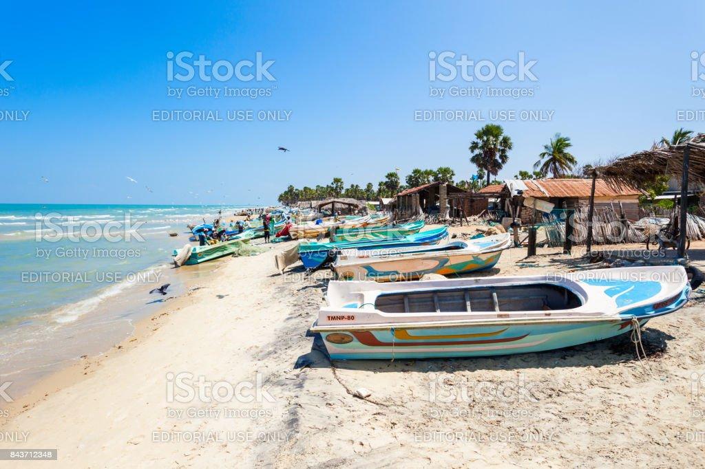 Fishermans at Talaimannar beach stock photo