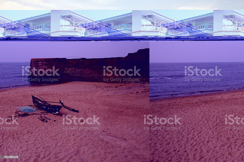 Fisherman's boat at Aguada Fort royalty-free stock photo