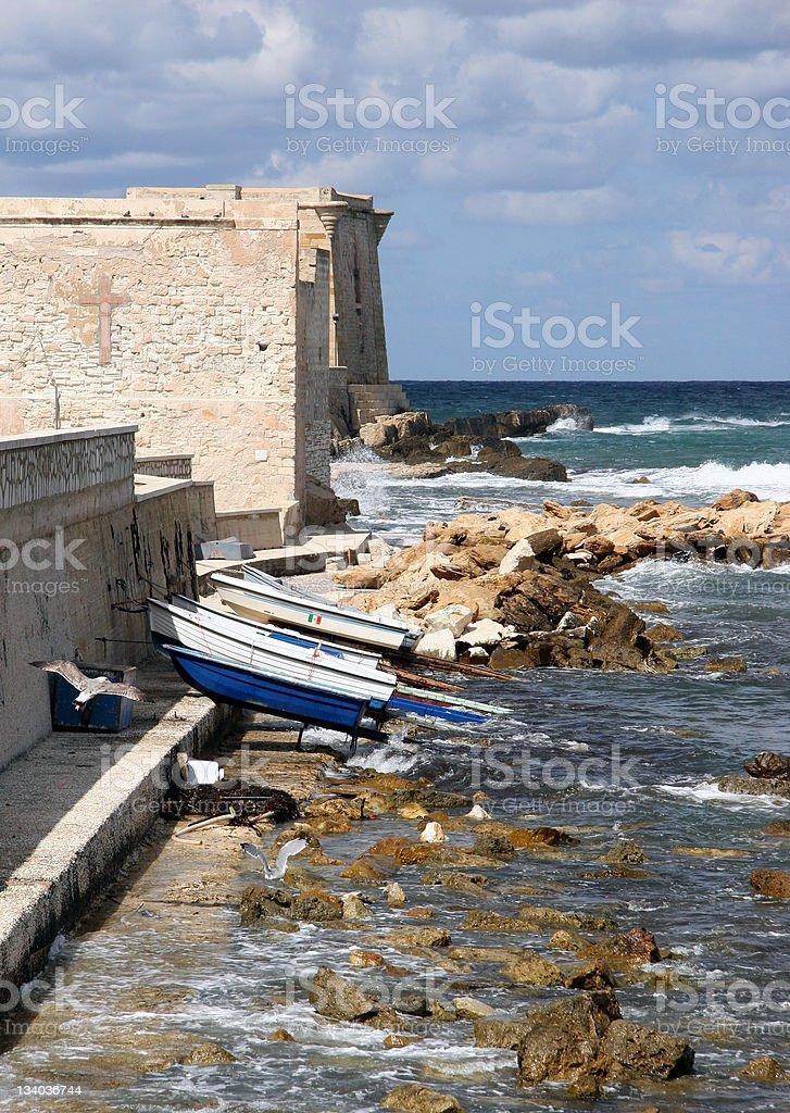 Fisherman's boat parking in Trapani Pier, Sicily, Italy royalty-free stock photo